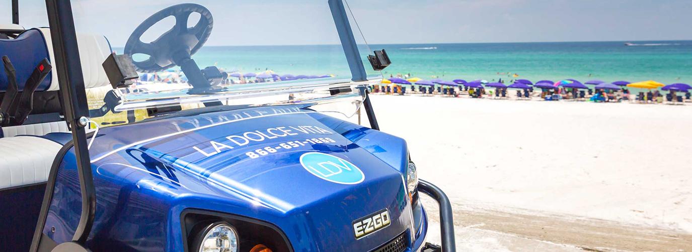 Blue Rental Golf Cart in Destin